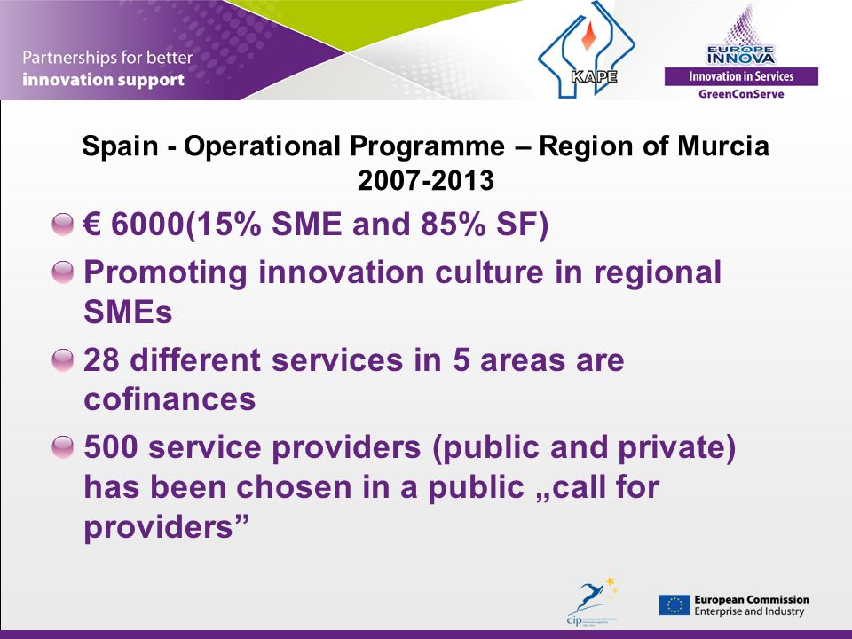 Spain - Operational Programme – Region of Murcia 2007-2013 6000(15% SME and 85% SF) Promoting innovation culture in regional SMEs 28 different services in 5 areas are cofinances 500 service providers (public and private) has been chosen in a public call for providers