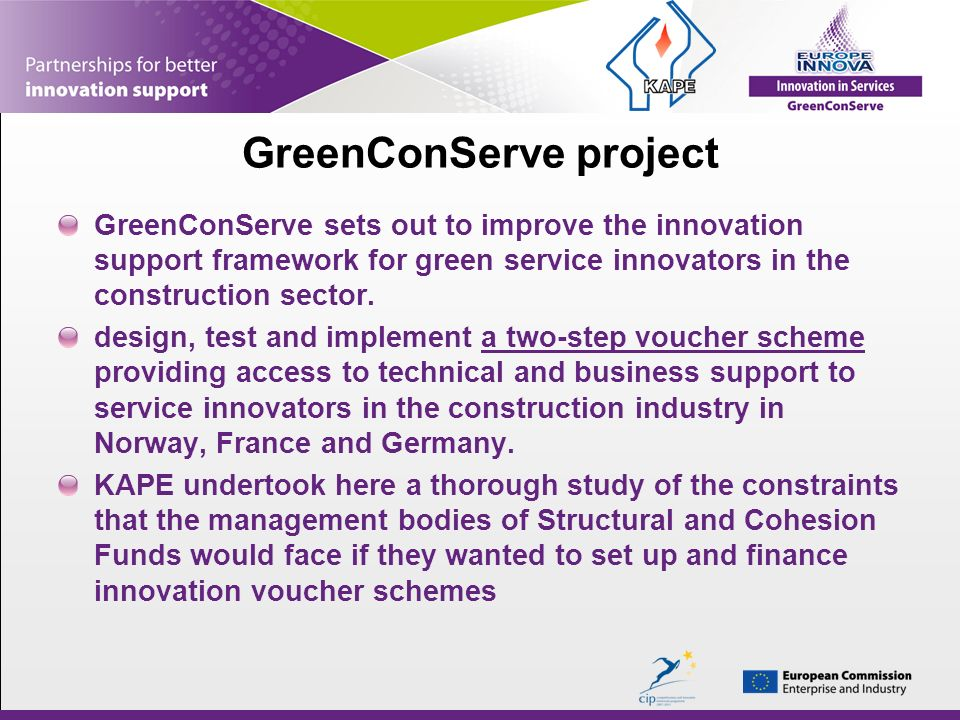 GreenConServe sets out to improve the innovation support framework for green service innovators in the construction sector.