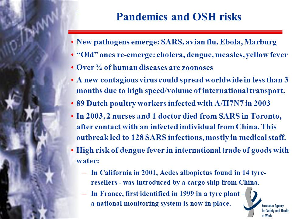 Pandemics and OSH risks New pathogens emerge: SARS, avian flu, Ebola, Marburg Old ones re-emerge: cholera, dengue, measles, yellow fever Over ¾ of human diseases are zoonoses A new contagious virus could spread worldwide in less than 3 months due to high speed/volume of international transport.