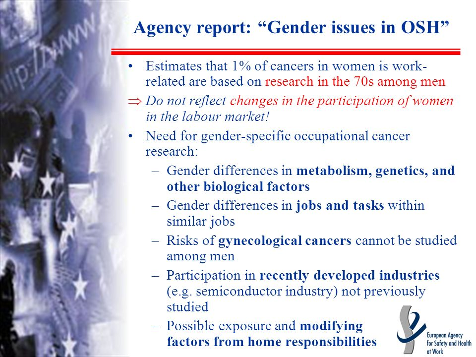Agency report: Gender issues in OSH Estimates that 1% of cancers in women is work- related are based on research in the 70s among men Do not reflect changes in the participation of women in the labour market.