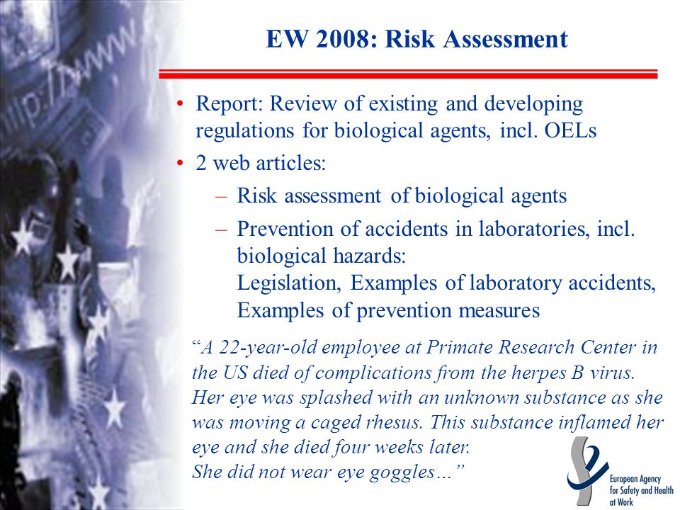 EW 2008: Risk Assessment Report: Review of existing and developing regulations for biological agents, incl.