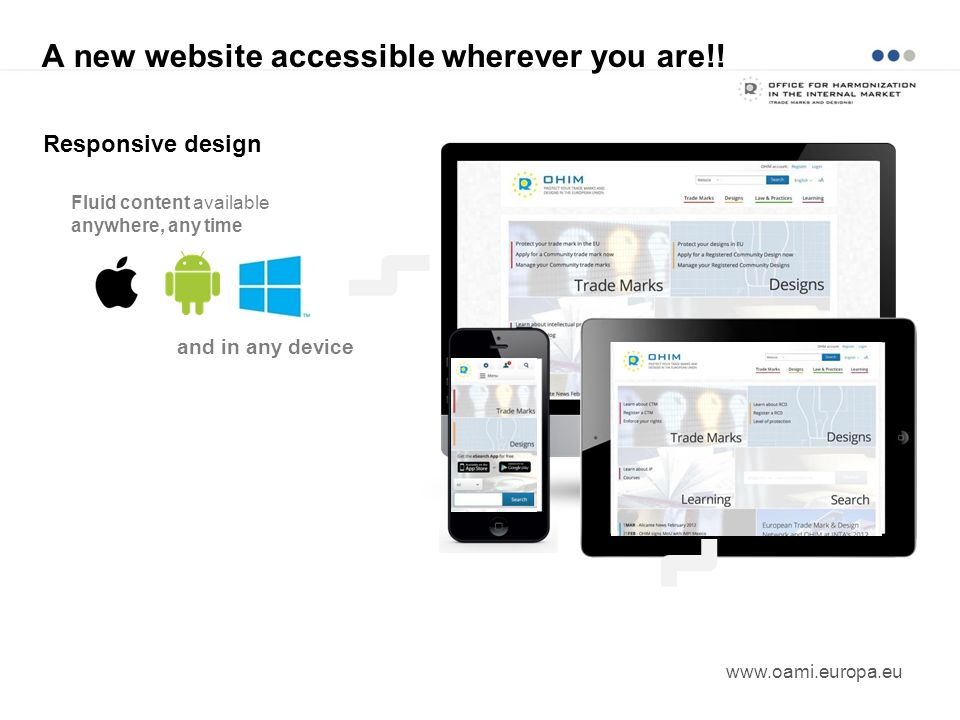 A new website accessible wherever you are!! www.oami.europa.eu Responsive design Fluid content available anywhere, any time and in any device