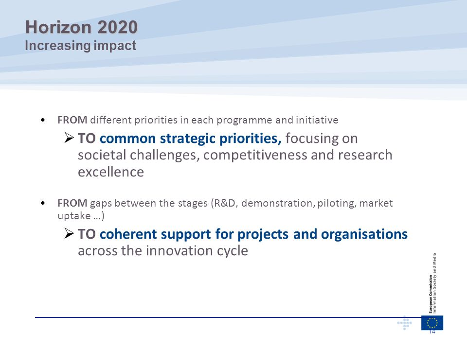 14 FROM different priorities in each programme and initiative TO common strategic priorities, focusing on societal challenges, competitiveness and res