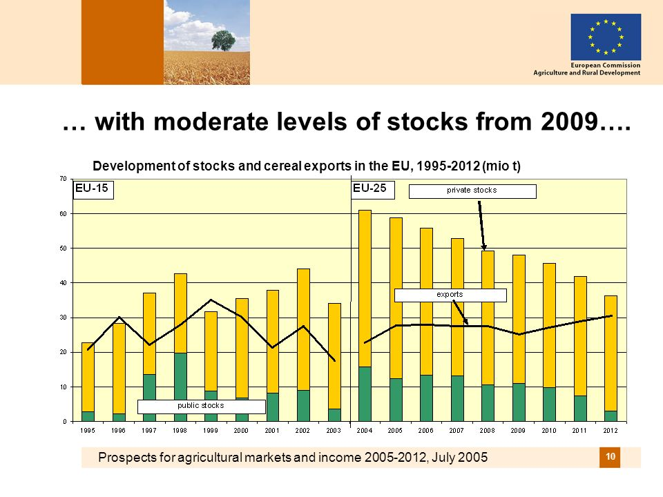 Prospects for agricultural markets and income 2005-2012, July 2005 10 … with moderate levels of stocks from 2009….