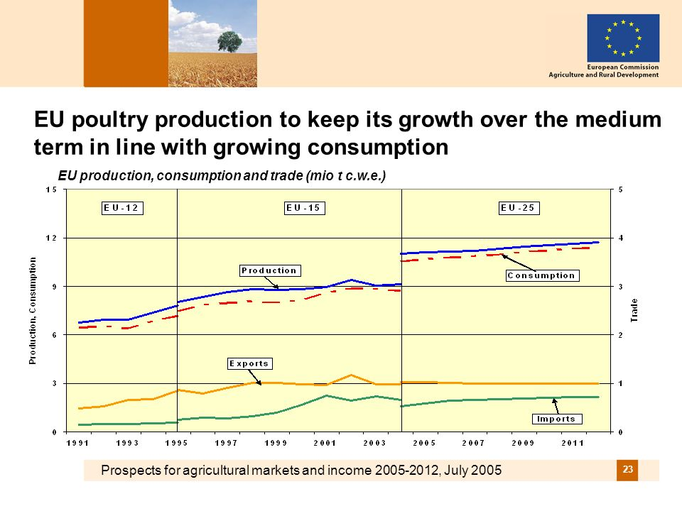 Prospects for agricultural markets and income 2005-2012, July 2005 23 EU poultry production to keep its growth over the medium term in line with growi