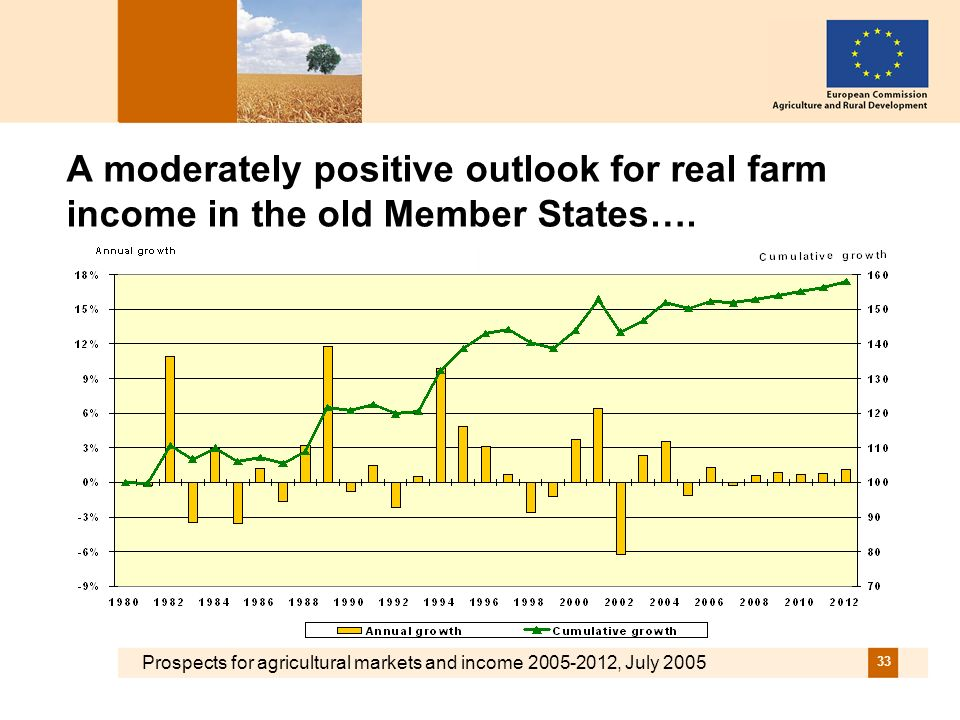 Prospects for agricultural markets and income 2005-2012, July 2005 33 A moderately positive outlook for real farm income in the old Member States….