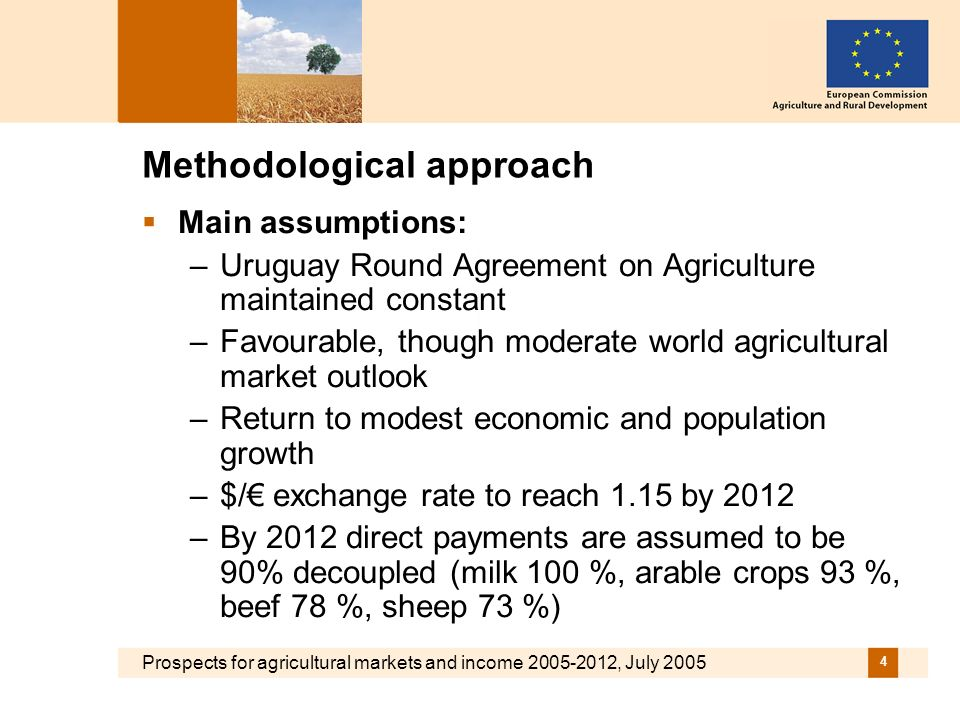Prospects for agricultural markets and income 2005-2012, July 2005 4 Methodological approach Main assumptions: –Uruguay Round Agreement on Agriculture maintained constant –Favourable, though moderate world agricultural market outlook –Return to modest economic and population growth –$/ exchange rate to reach 1.15 by 2012 –By 2012 direct payments are assumed to be 90% decoupled (milk 100 %, arable crops 93 %, beef 78 %, sheep 73 %)
