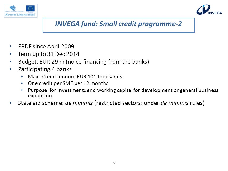 ERDF since April 2009 Term up to 31 Dec 2014 Budget: EUR 29 m (no co financing from the banks) Participating 4 banks Max.