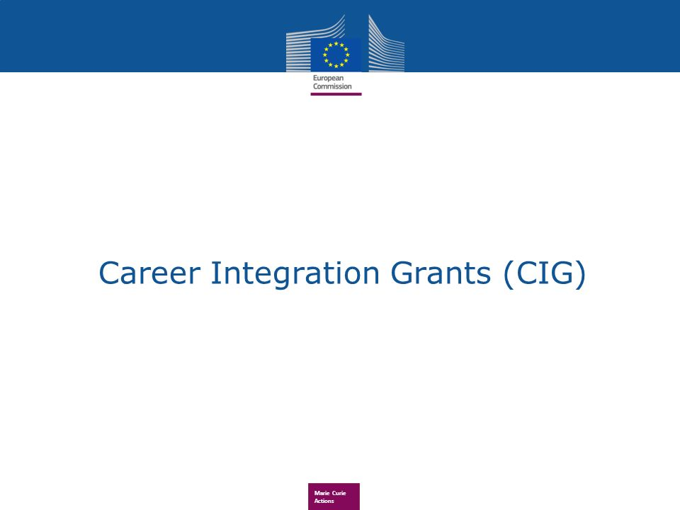 Marie Curie Actions Career Integration Grants (CIG)