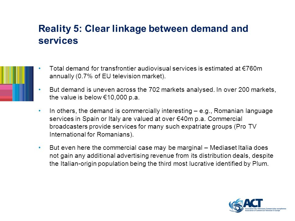 Total demand for transfrontier audiovisual services is estimated at 760m annually (0.7% of EU television market). But demand is uneven across the 702