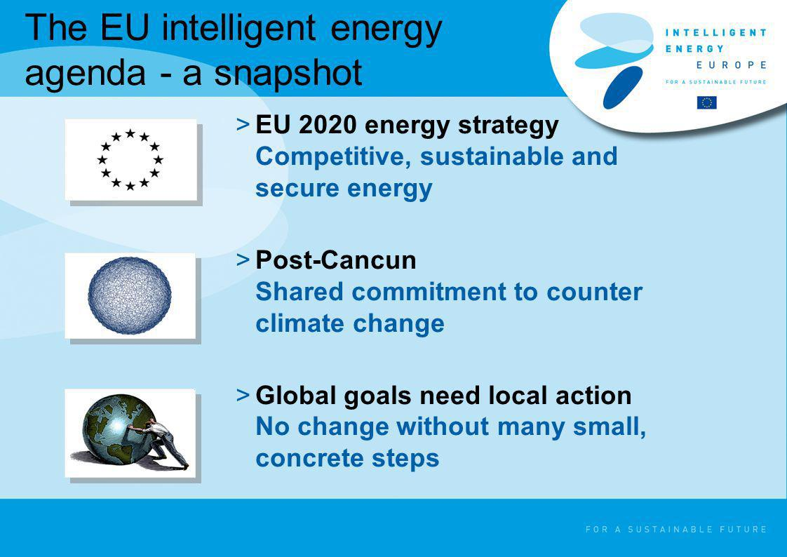 The EU intelligent energy agenda - a snapshot >EU 2020 energy strategy Competitive, sustainable and secure energy >Post-Cancun Shared commitment to co