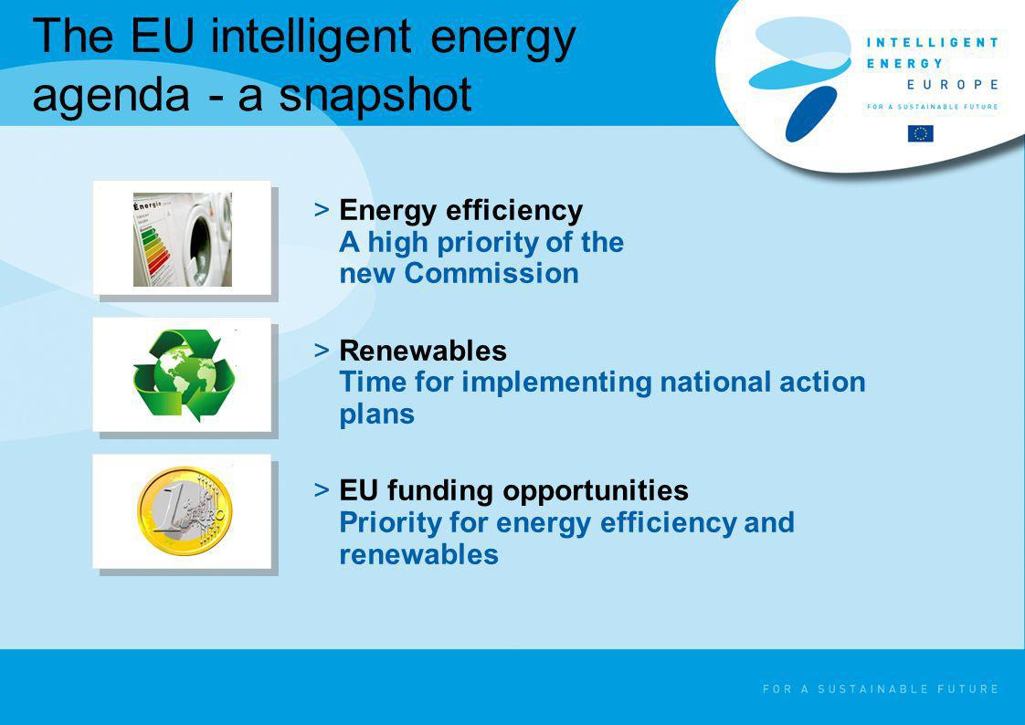 The EU intelligent energy agenda - a snapshot >Energy efficiency A high priority of the new Commission >Renewables Time for implementing national acti