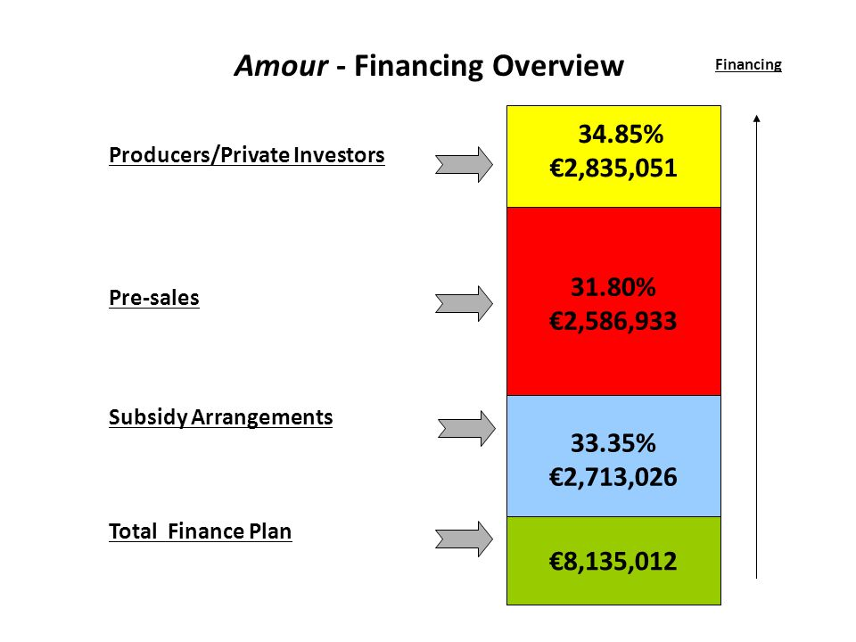 Producers/Private Investors Pre-sales Subsidy Arrangements Total Finance Plan 34.85% 2,835,051 Financing Amour - Financing Overview 31.80% 2,586,933 33.35% 2,713,026 8,135,012
