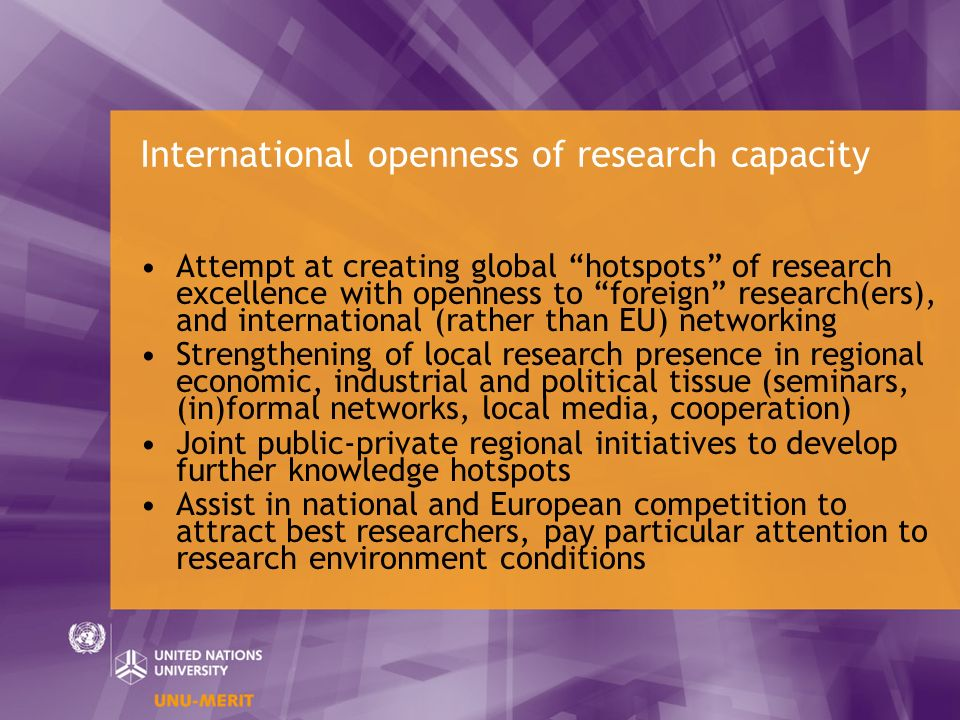 International openness of research capacity Attempt at creating global hotspots of research excellence with openness to foreign research(ers), and int