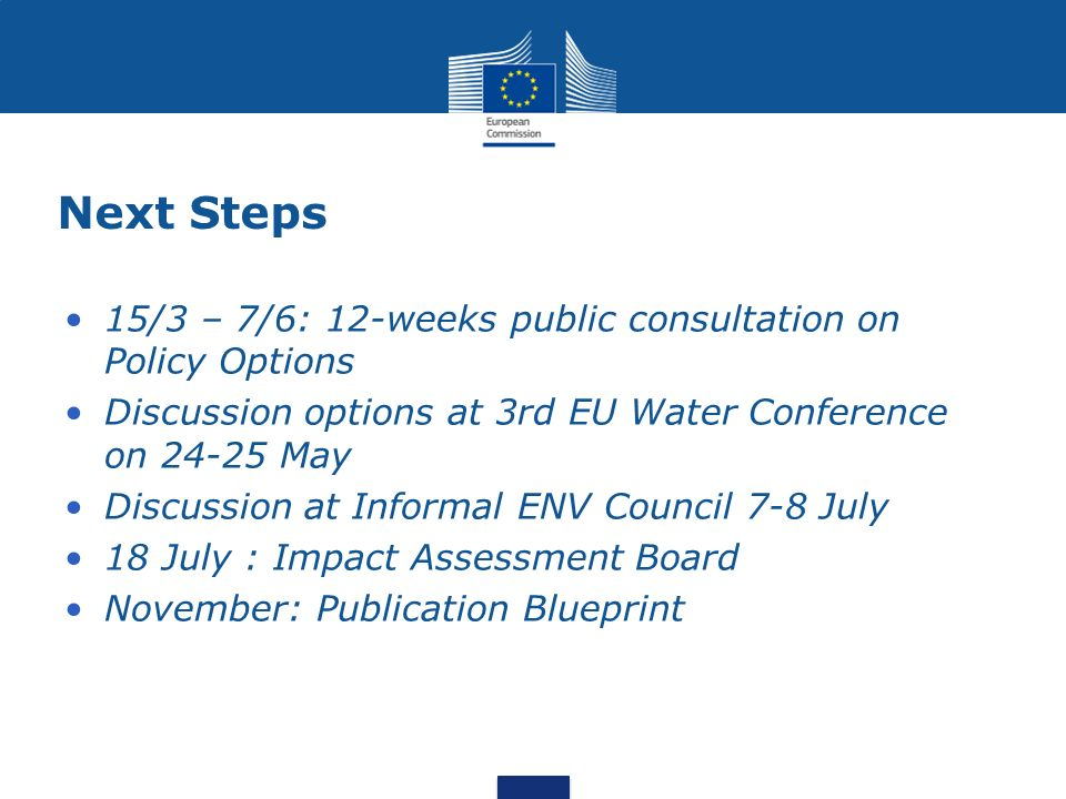 Next Steps 15/3 – 7/6: 12-weeks public consultation on Policy Options Discussion options at 3rd EU Water Conference on 24-25 May Discussion at Informa