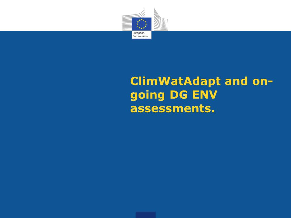 ClimWatAdapt and on- going DG ENV assessments.