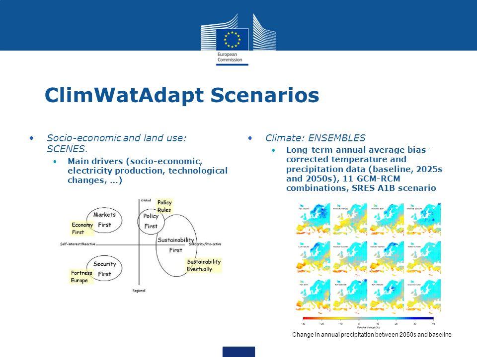 ClimWatAdapt Scenarios Socio-economic and land use: SCENES. Main drivers (socio-economic, electricity production, technological changes, …) Climate: E