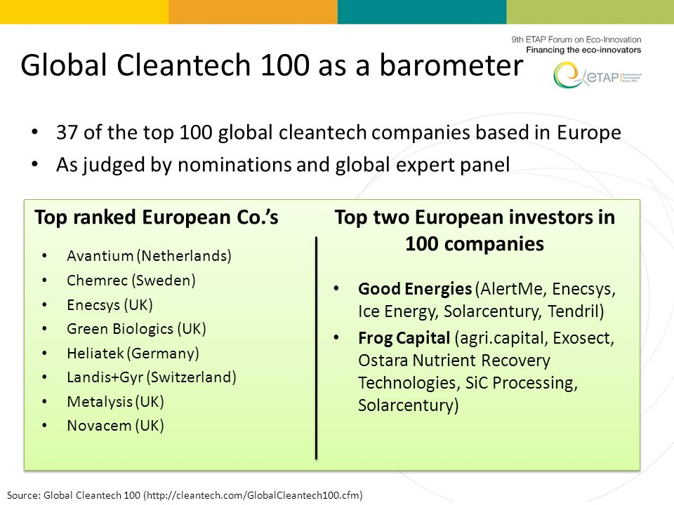 Global Cleantech 100 as a barometer 37 of the top 100 global cleantech companies based in Europe As judged by nominations and global expert panel Source: Global Cleantech 100 (http://cleantech.com/GlobalCleantech100.cfm) Top ranked European Co.sTop two European investors in 100 companies Good Energies (AlertMe, Enecsys, Ice Energy, Solarcentury, Tendril) Frog Capital (agri.capital, Exosect, Ostara Nutrient Recovery Technologies, SiC Processing, Solarcentury) Avantium (Netherlands) Chemrec (Sweden) Enecsys (UK) Green Biologics (UK) Heliatek (Germany) Landis+Gyr (Switzerland) Metalysis (UK) Novacem (UK)