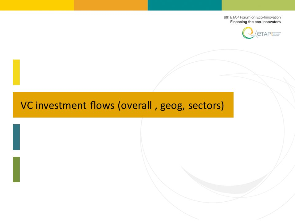 VC investment flows (overall, geog, sectors)