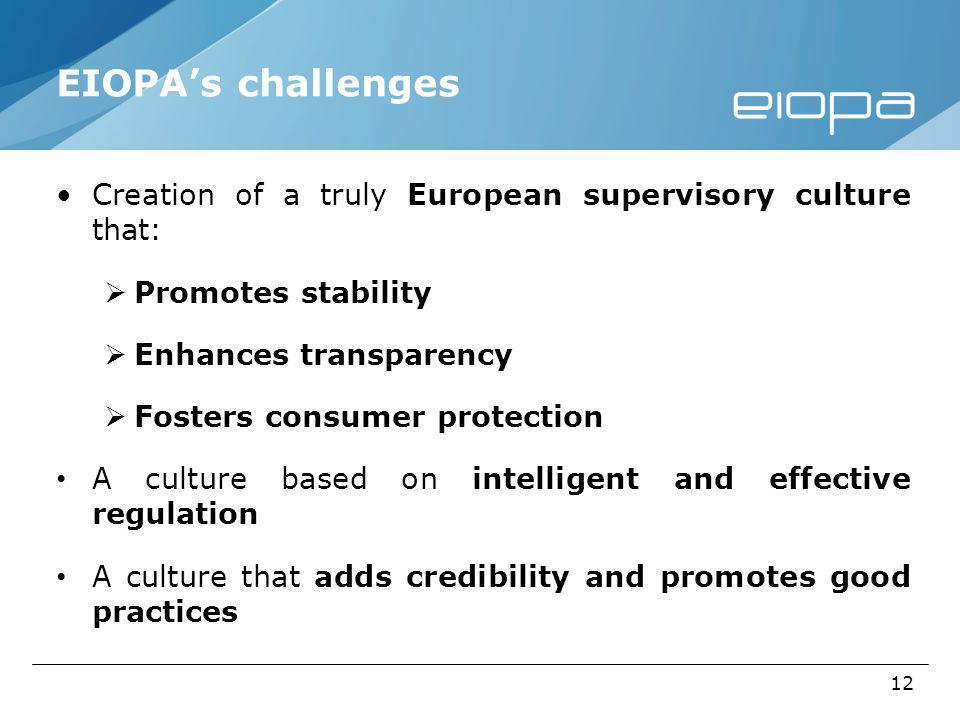 12 EIOPAs challenges Creation of a truly European supervisory culture that: Promotes stability Enhances transparency Fosters consumer protection A culture based on intelligent and effective regulation A culture that adds credibility and promotes good practices