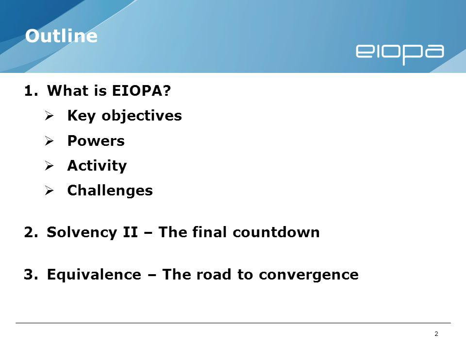 2 Outline 1.What is EIOPA.