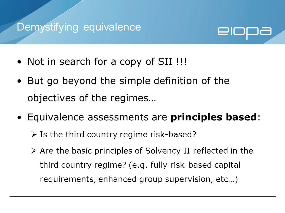 Demystifying equivalence Not in search for a copy of SII !!.