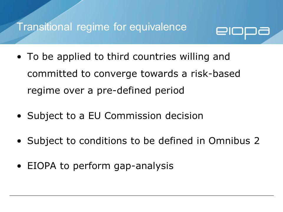 Transitional regime for equivalence To be applied to third countries willing and committed to converge towards a risk-based regime over a pre-defined period Subject to a EU Commission decision Subject to conditions to be defined in Omnibus 2 EIOPA to perform gap-analysis