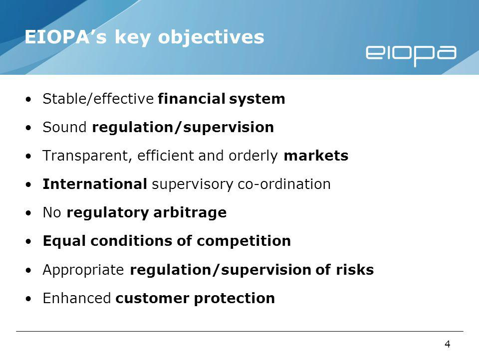 4 EIOPAs key objectives Stable/effective financial system Sound regulation/supervision Transparent, efficient and orderly markets International supervisory co-ordination No regulatory arbitrage Equal conditions of competition Appropriate regulation/supervision of risks Enhanced customer protection