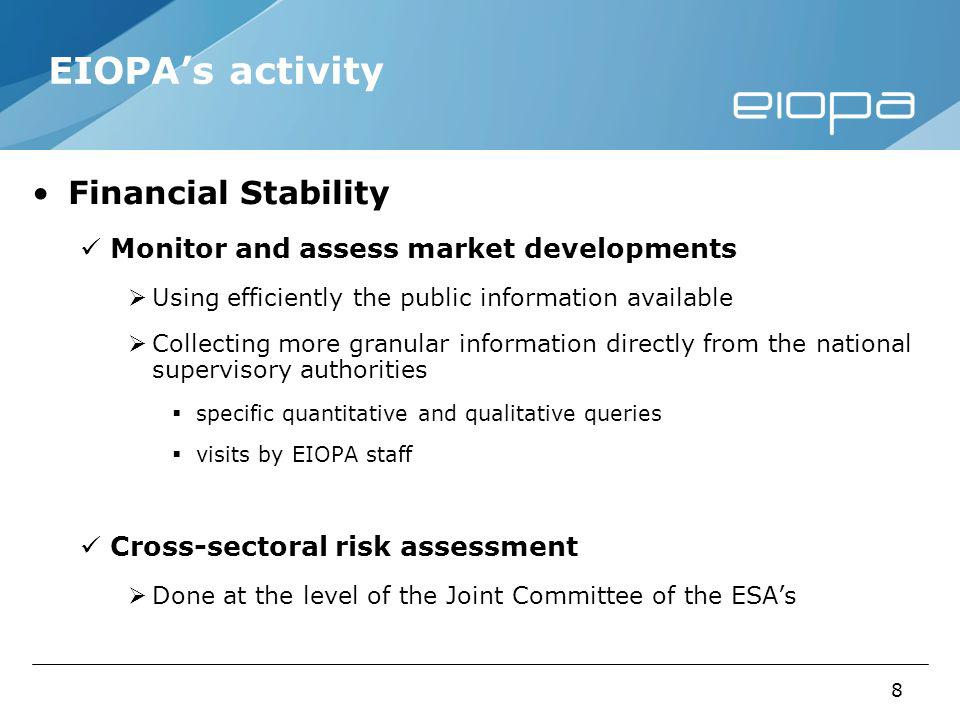 8 EIOPAs activity Financial Stability Monitor and assess market developments Using efficiently the public information available Collecting more granular information directly from the national supervisory authorities specific quantitative and qualitative queries visits by EIOPA staff Cross-sectoral risk assessment Done at the level of the Joint Committee of the ESAs