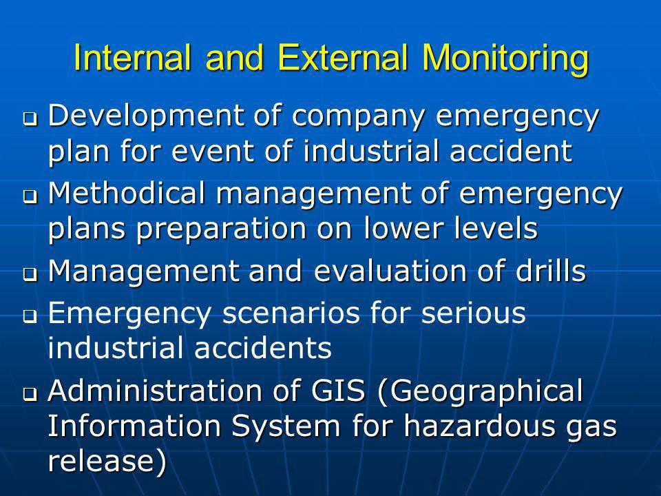 Internal and External Monitoring Development of company emergency plan for event of industrial accident Development of company emergency plan for event of industrial accident Methodical management of emergency plans preparation on lower levels Methodical management of emergency plans preparation on lower levels Management and evaluation of drills Management and evaluation of drills Emergency scenarios for serious industrial accidents Administration of GIS (Geographical Information System for hazardous gas release) Administration of GIS (Geographical Information System for hazardous gas release)
