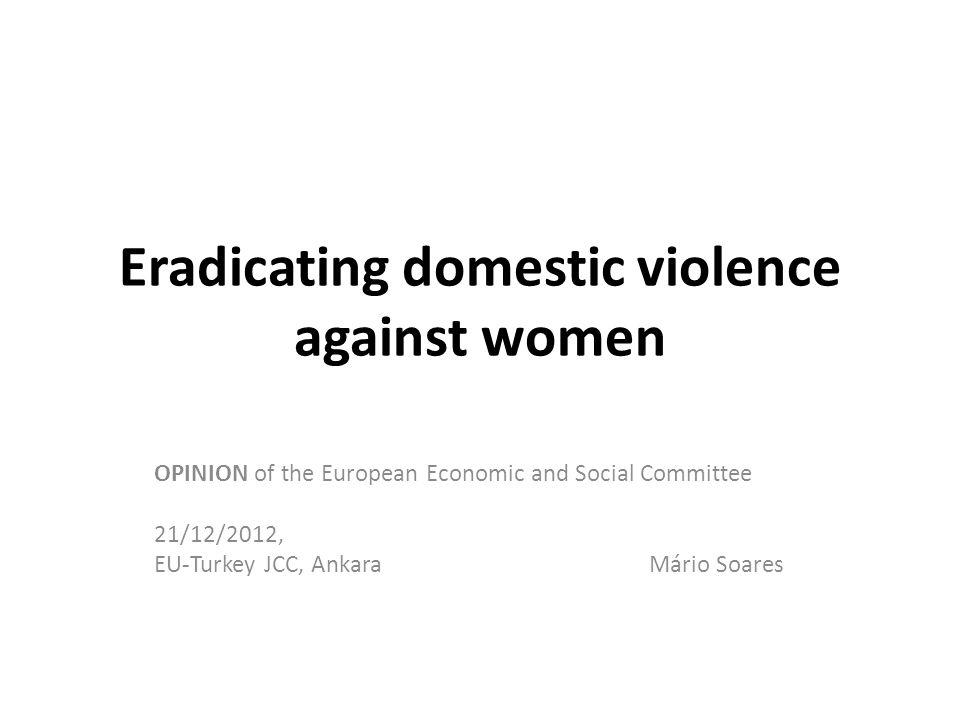 Eradicating domestic violence against women the focus of the opinion is on domestic violence against women.