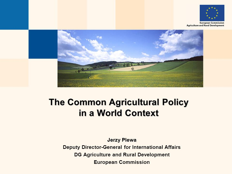 The Common Agricultural Policy in a World Context Jerzy Plewa Deputy Director-General for International Affairs DG Agriculture and Rural Development European Commission