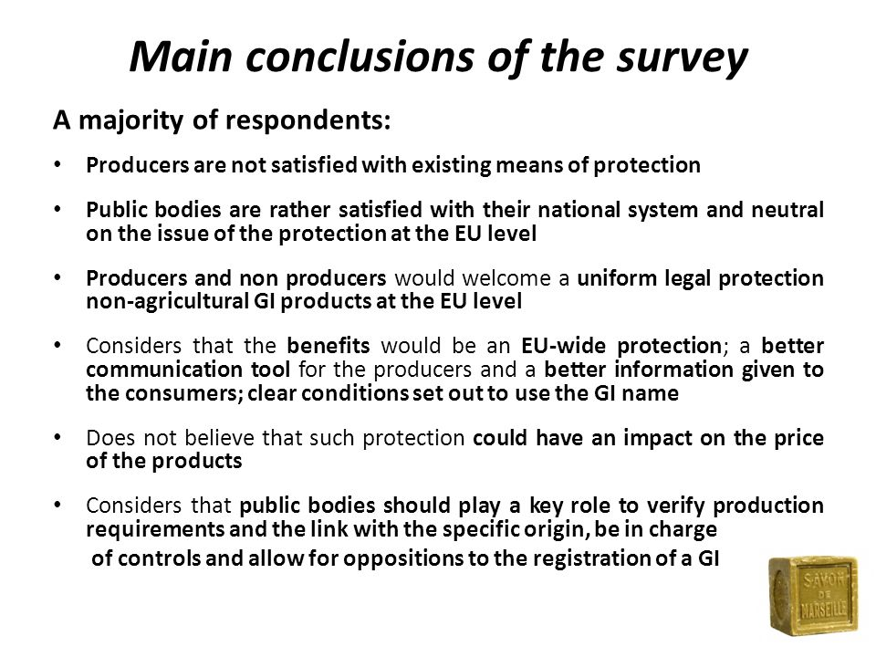 Main conclusions of the survey A majority of respondents: Producers are not satisfied with existing means of protection Public bodies are rather satisfied with their national system and neutral on the issue of the protection at the EU level Producers and non producers would welcome a uniform legal protection non-agricultural GI products at the EU level Considers that the benefits would be an EU-wide protection; a better communication tool for the producers and a better information given to the consumers; clear conditions set out to use the GI name Does not believe that such protection could have an impact on the price of the products Considers that public bodies should play a key role to verify production requirements and the link with the specific origin, be in charge of controls and allow for oppositions to the registration of a GI