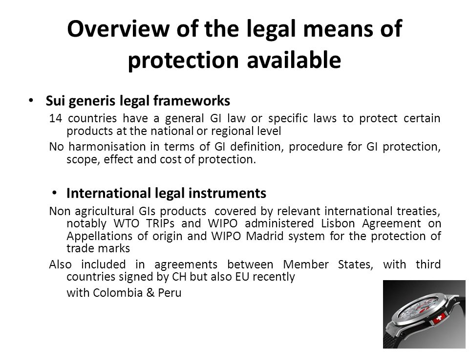 Overview of the legal means of protection available Sui generis legal frameworks 14 countries have a general GI law or specific laws to protect certain products at the national or regional level No harmonisation in terms of GI definition, procedure for GI protection, scope, effect and cost of protection.