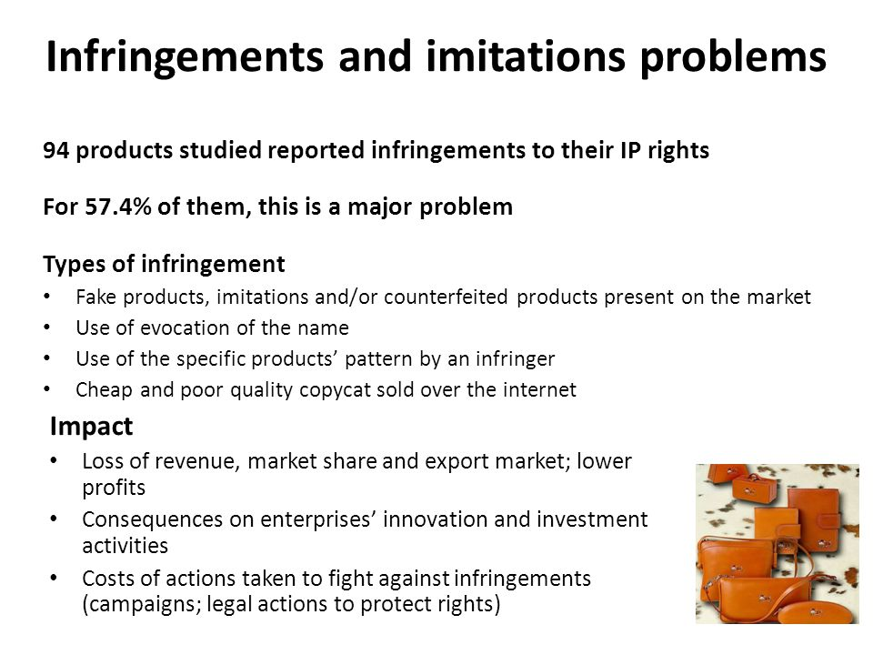 Infringements and imitations problems 94 products studied reported infringements to their IP rights For 57.4% of them, this is a major problem Types of infringement Fake products, imitations and/or counterfeited products present on the market Use of evocation of the name Use of the specific products pattern by an infringer Cheap and poor quality copycat sold over the internet Impact Loss of revenue, market share and export market; lower profits Consequences on enterprises innovation and investment activities Costs of actions taken to fight against infringements (campaigns; legal actions to protect rights)