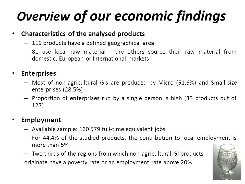 Overview of our economic findings Characteristics of the analysed products – 119 products have a defined geographical area – 81 use local raw material - the others source their raw material from domestic, European or International markets Enterprises – Most of non-agricultural GIs are produced by Micro (51.6%) and Small-size enterprises (28.5%) – Proportion of enterprises run by a single person is high (33 products out of 127) Employment – Available sample: full-time equivalent jobs – For 44,4% of the studied products, the contribution to local employment is more than 5% – Two thirds of the regions from which non-agricultural GI products originate have a poverty rate or an employment rate above 20%