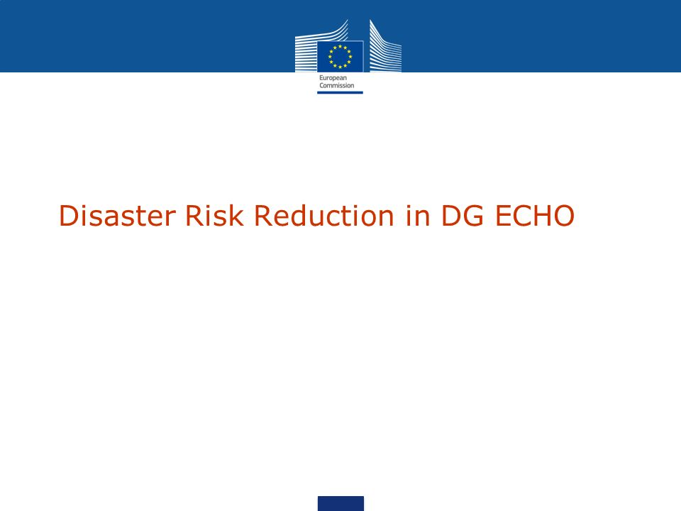 Disaster Risk Reduction in DG ECHO