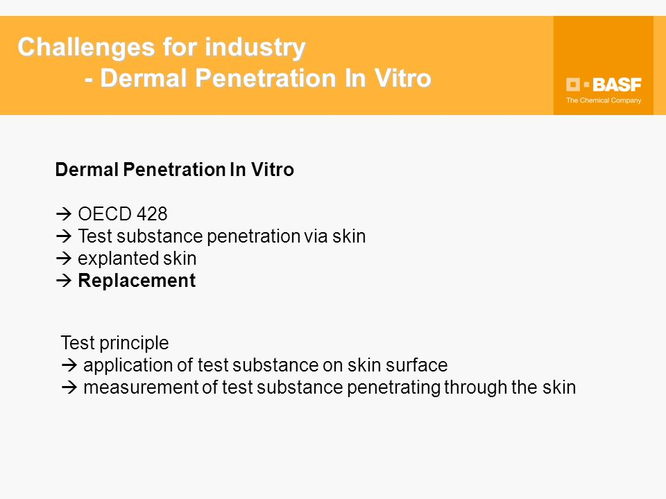 Dermal Penetration In Vitro OECD 428 Test substance penetration via skin explanted skin Replacement Test principle application of test substance on skin surface measurement of test substance penetrating through the skin Challenges for industry - Dermal Penetration In Vitro