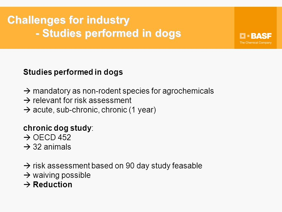 Chronic dog study - waiving: Acceptance EU waiving accepted not mandatory in revised 91/414 U.S.