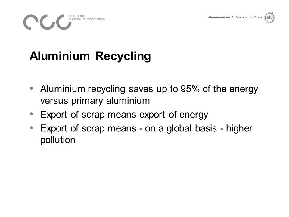 Aluminium Recycling Aluminium recycling saves up to 95% of the energy versus primary aluminium Export of scrap means export of energy Export of scrap means - on a global basis - higher pollution