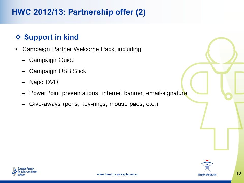 12 www.healthy-workplaces.eu HWC 2012/13: Partnership offer (2) Support in kind Campaign Partner Welcome Pack, including: –Campaign Guide –Campaign USB Stick –Napo DVD –PowerPoint presentations, internet banner, email-signature –Give-aways (pens, key-rings, mouse pads, etc.)
