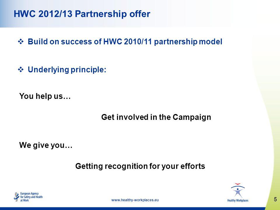 5 www.healthy-workplaces.eu HWC 2012/13 Partnership offer Build on success of HWC 2010/11 partnership model Underlying principle: You help us… Get inv