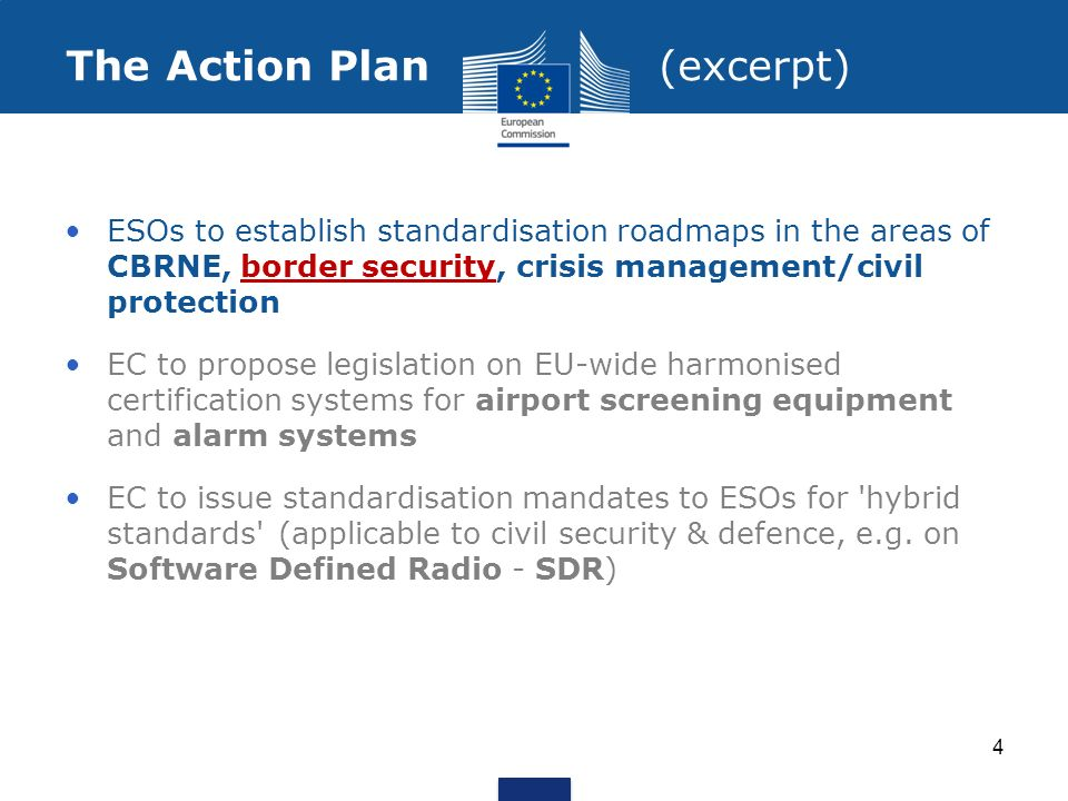 Action on Standardization Mandate M/487 (COM(2012)417) was performed to analyse the existing security standardization landscape, select priorities and develop standardization roadmaps for three selected sectors to support the EU industrial policy on security.