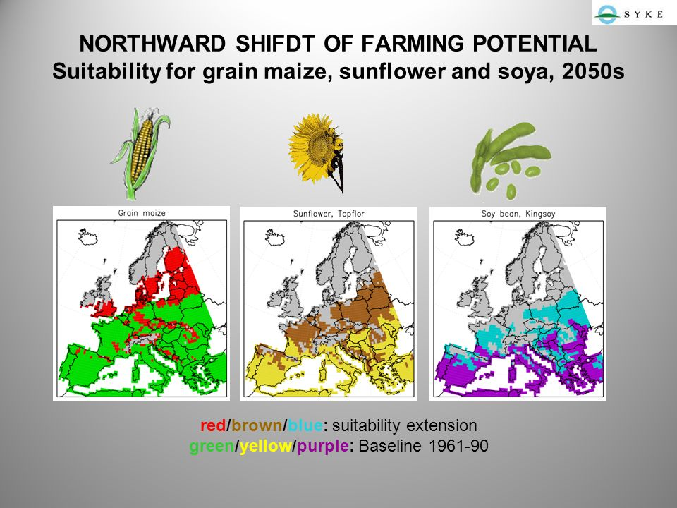 NORTHWARD SHIFDT OF FARMING POTENTIAL Suitability for grain maize, sunflower and soya, 2050s red/brown/blue: suitability extension green/yellow/purple