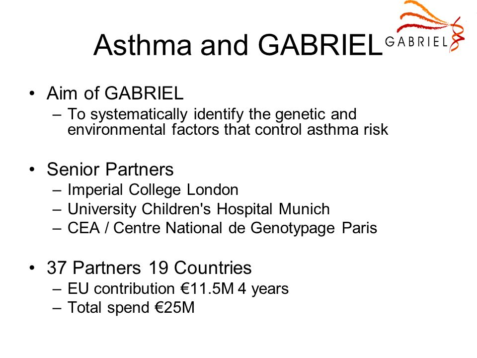 Asthma and GABRIEL Aim of GABRIEL –To systematically identify the genetic and environmental factors that control asthma risk Senior Partners –Imperial