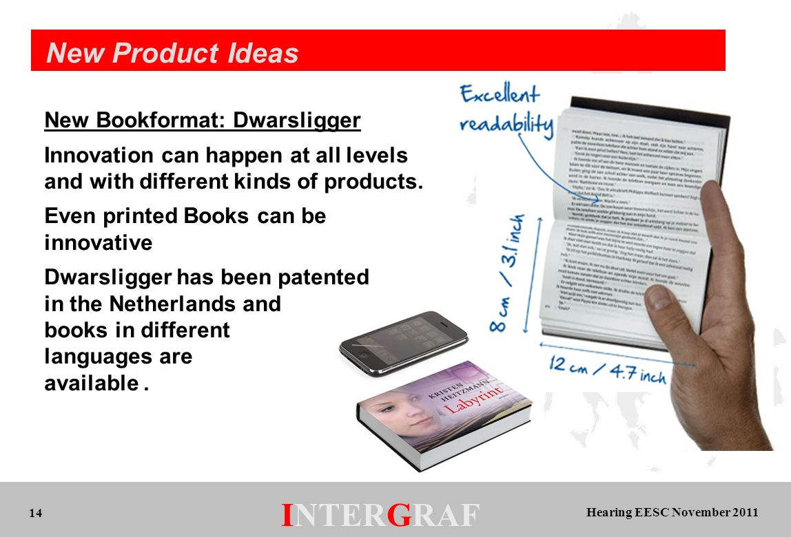 Hearing EESC November 2011 INTERGRAF 14 New Product Ideas New Bookformat: Dwarsligger Innovation can happen at all levels and with different kinds of