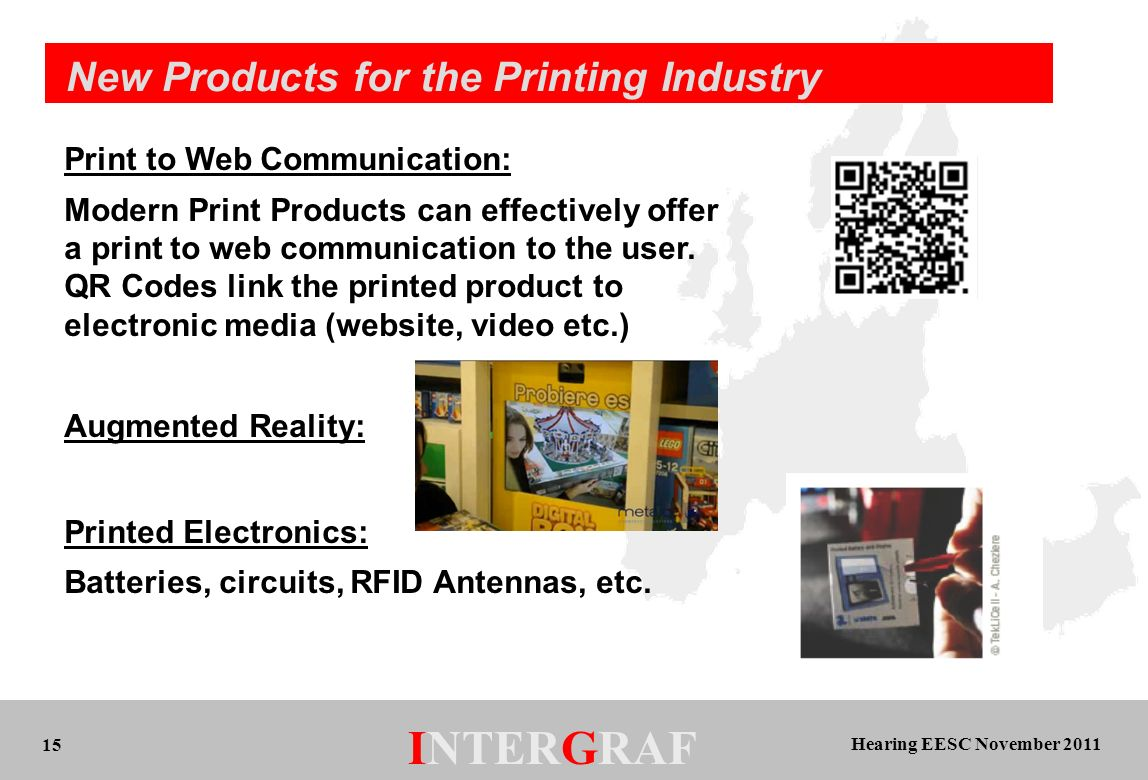 Hearing EESC November 2011 INTERGRAF 15 New Products for the Printing Industry Print to Web Communication: Modern Print Products can effectively offer