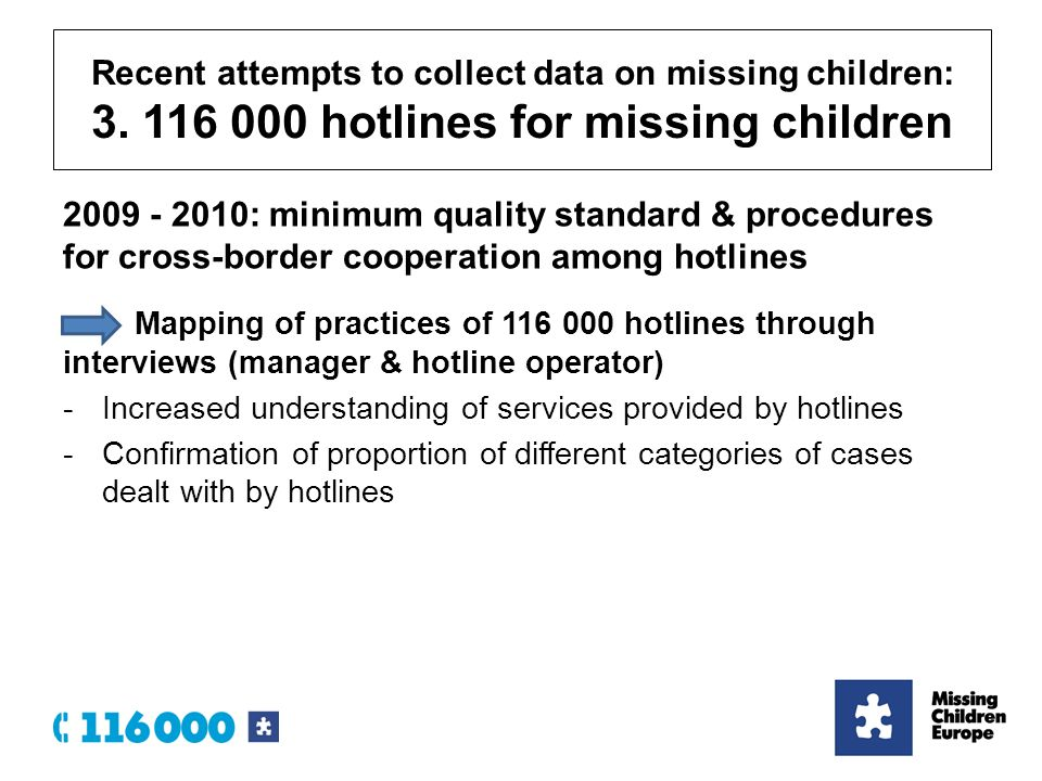 : minimum quality standard & procedures for cross-border cooperation among hotlines Mapping of practices of hotlines through interviews (manager & hotline operator) -Increased understanding of services provided by hotlines -Confirmation of proportion of different categories of cases dealt with by hotlines Recent attempts to collect data on missing children: 3.