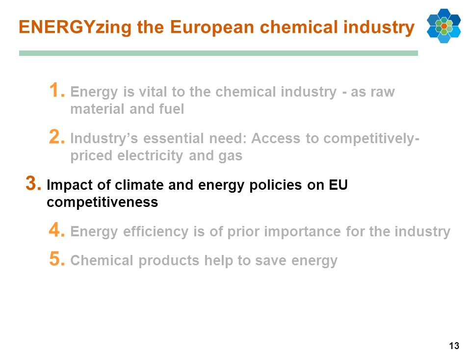 13 1. Energy is vital to the chemical industry - as raw material and fuel 2. Industrys essential need: Access to competitively- priced electricity and