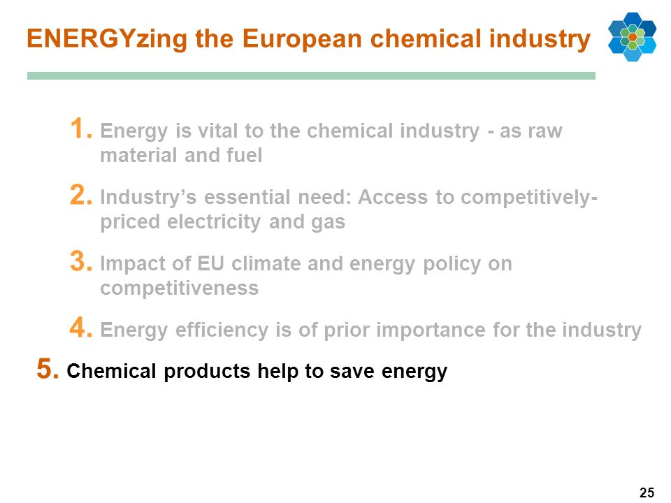 25 1. Energy is vital to the chemical industry - as raw material and fuel 2. Industrys essential need: Access to competitively- priced electricity and